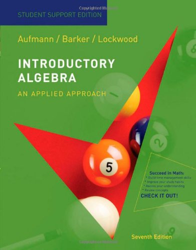 Aufmann Introductory Algebra Paperback Student Support Edition Seventhedition  7th 2009 edition cover