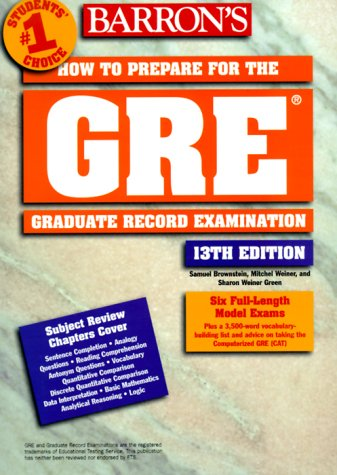 How to Prepare for the GRE - Graduate Record Exam 13th 1999 9780764107795 Front Cover