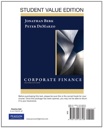 Corporate Finance, Student Value Edition  2nd 2011 edition cover