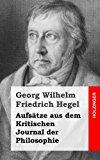 Aufs�tze Aus Dem Kritischen Journal der Philosophie  N/A 9781484031797 Front Cover