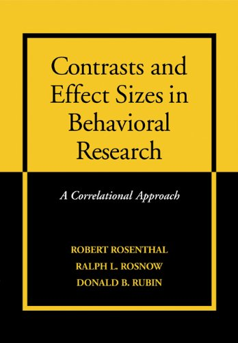 Contrasts and Effect Sizes in Behavioral Research A Correlational Approach  2000 edition cover