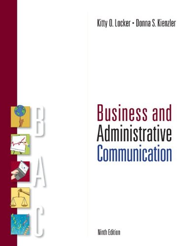 Business and Administrative Communication  9th 2010 edition cover