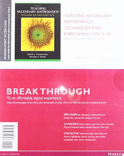 Teaching Secondary Mathematics: Techniques and Enrichment Units, Pearson eText -- Access Card  2015 edition cover