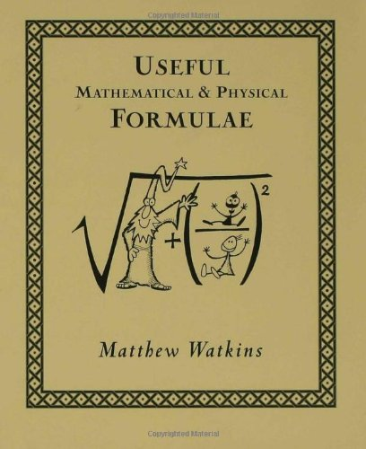Useful Mathematical and Physical Formulae   2001 edition cover