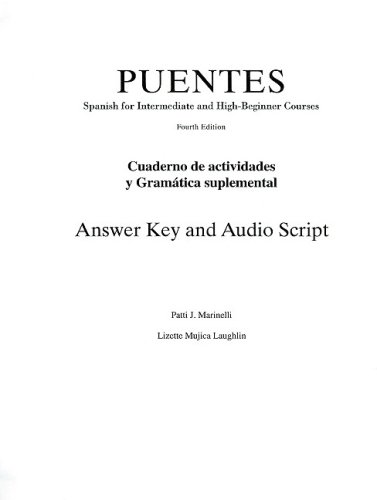 PUENTES  -CUADERNO DE ACT. ANSWER KEY 4th 2007 9781413018806 Front Cover