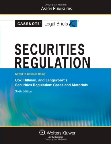Securities Regulation  6th (Student Manual, Study Guide, etc.) edition cover