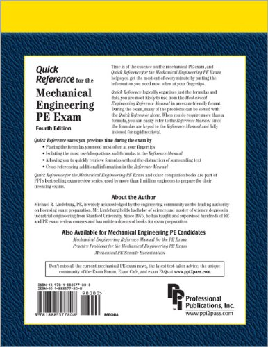 Quick Reference for the Mechanical Engineering PE Exam  4th 2002 edition cover