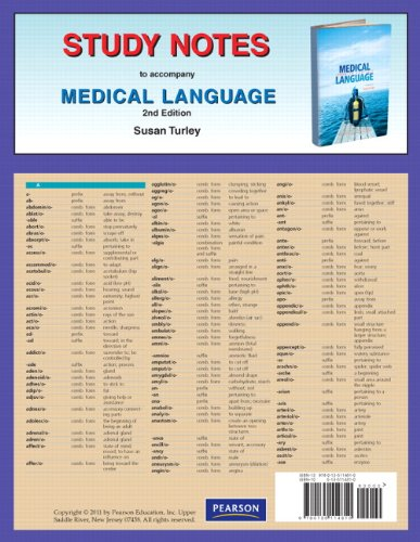 Study Notes for Medical Language  2nd 2011 edition cover