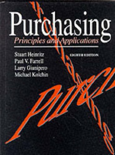 Purchasing Principles and Applications 8th 9780137420810 Front Cover