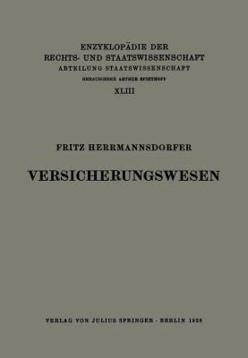 Versicherungswesen   1928 edition cover