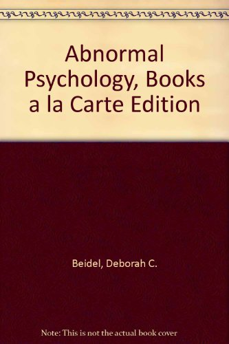 Abnormal Psychology: Books a La Carte  2013 edition cover