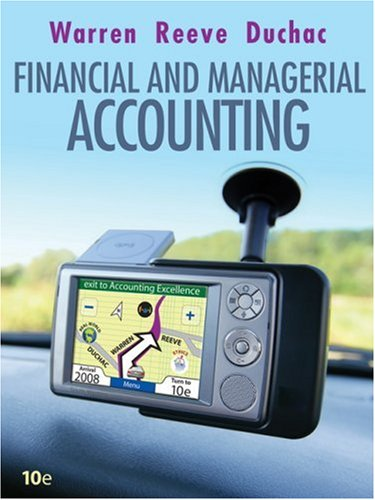 Financial and Managerial Accounting  10th 2009 edition cover