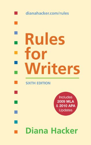 Rules for Writers with 2009 MLA and 2010 APA Updates  6th edition cover