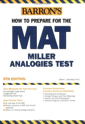 Barron's How to Prepare for the MAT : Miller Analogies Test 9th 2005 9780764123818 Front Cover