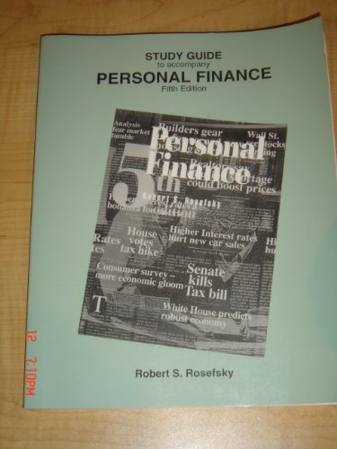 Study Guide to Accompany Personsal Finance 5th 9780471549819 Front Cover