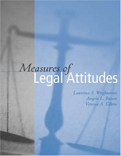 Measures of Legal Attitudes   2004 9780534526825 Front Cover