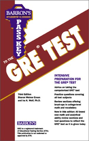 Pass Key to the GRE Test 3rd 2000 9780764107825 Front Cover