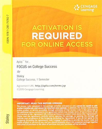FOCUS ON COLLEGE SUCCESS-ACCES N/A 9781285757827 Front Cover