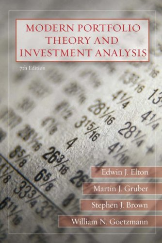 Modern Portfolio Theory and Investment Analysis  7th 2007 (Revised) edition cover
