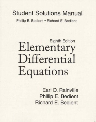Elementary Differential Equations  8th 1997 (Student Manual, Study Guide, etc.) 9780135927830 Front Cover