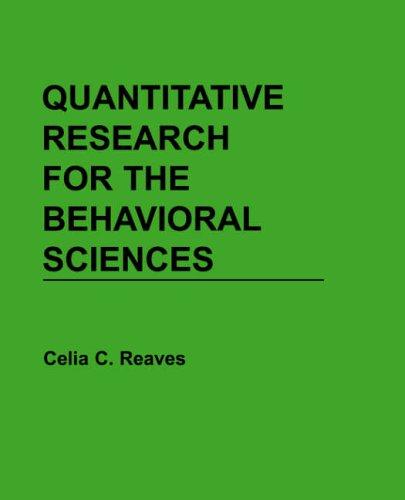 Quantitative Research for the Behavioral Sciences  1st 1992 edition cover