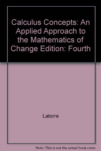 Calculus Concepts : An Applied Approach to the Mathematics of Change 4th 2008 9780618789832 Front Cover