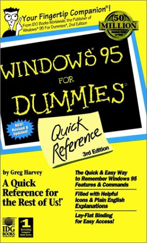 Windows 95 for Dummies Quick Reference 3rd 1997 9780764501838 Front Cover