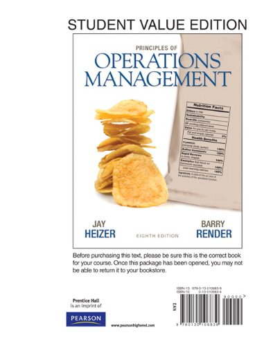 Principles of Operations Management, Student Value Edition  8th 2011 edition cover