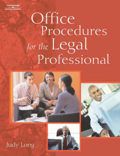 Office Procedures for the Legal Professional   2005 9781401840839 Front Cover
