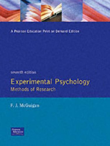 Experimental Psychology Methods of Research  7th 1997 (Revised) edition cover