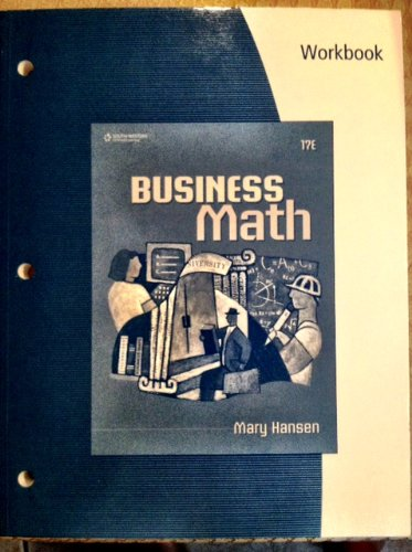Workbook for Hansen's Business Math  17th 2010 (Revised) 9780538448840 Front Cover