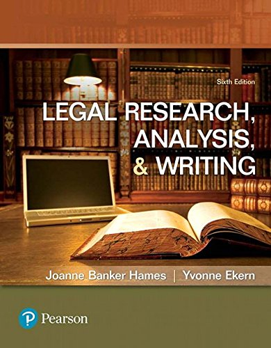 Legal Research, Analysis and Writing  6th 2018 9780134559841 Front Cover