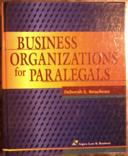 Business Organizations for Paralegals  Teachers Edition, Instructors Manual, etc.  edition cover