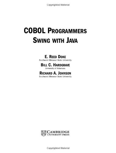 COBOL Programmers Swing with Java  2nd 2004 (Revised) 9780521546843 Front Cover