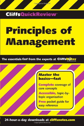 CliffsQuickReview Principles of Management   2001 edition cover