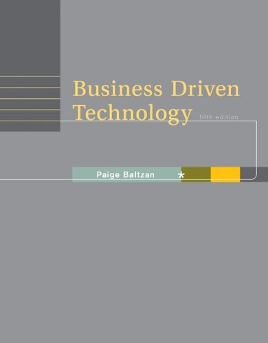 Business Driven Technology  5th 2013 edition cover