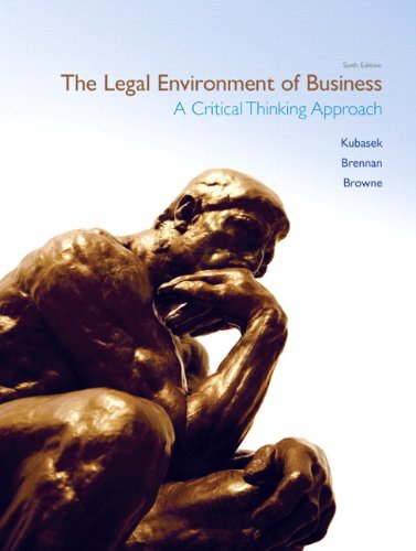 Legal Environment of Business A Critical Thinking Approach 6th 2012 edition cover