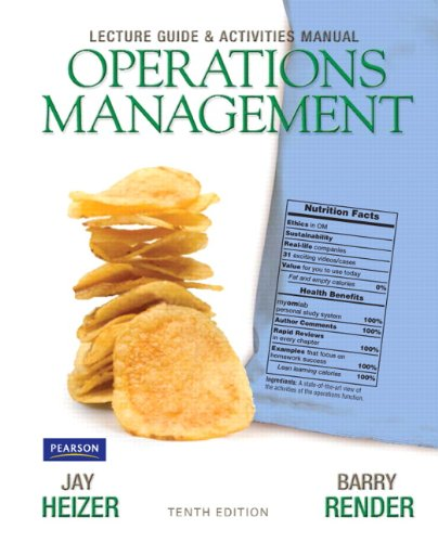 Lecture Guide and Activities Manual for Operations Management Flexible Edition  10th 2012 (Revised) edition cover
