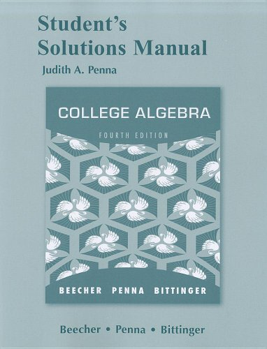 Student Solutions Manual for College Algebra  4th 2012 edition cover