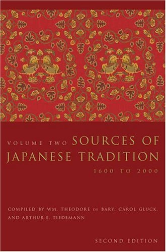 Sources of Japanese Tradition 1600 to 2000 2nd 2005 edition cover