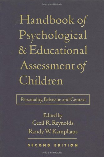 Handbook of Psychological and Educational Assessment of Children, 2/e Personality, Behavior, and Context 2nd 2003 (Revised) edition cover