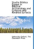 Studia Biblica Essays in Biblical Archaeology and Criticsm and Kindred Suriects N/A edition cover