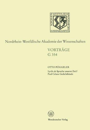 Lyrik Als Sprache Unserer Zeit? Paul Celans Gedichtb�nde   1998 edition cover
