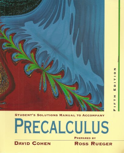 Precalculus A Problem Oriented Approach 5th 1997 (Student Manual, Study Guide, etc.) edition cover