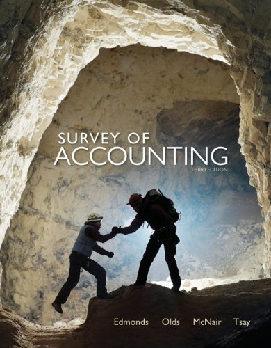 Survey of Accounting  3rd 2012 edition cover