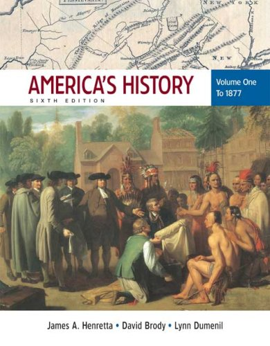 America's History to 1877  6th 2008 edition cover