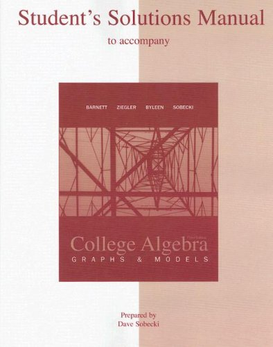 College Algebra Graphs and Models 3rd 2009 9780073341859 Front Cover