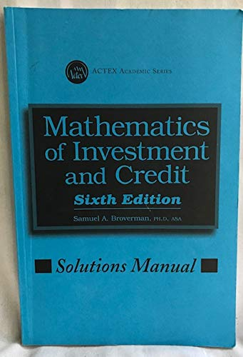 MATHEMATICS OF INVESTMENT...-SOLN.MAN.  N/A edition cover