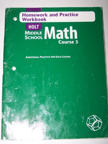 Holt Mathematics Homework and Practice Workbook 4th 9780030651861 Front Cover