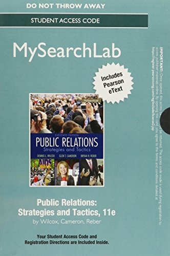 Public Relations Mysearchlab With Pearson Etext Standalone Access Card: Strategies and Tactics 11th 2014 edition cover